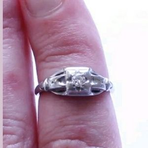 Antique Jabel Signed 18K White Gold & Diamond Ring, used for sale